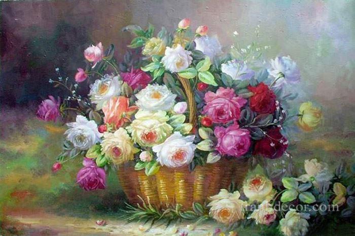 Tranh sơn dầu lẵng hoa hồng