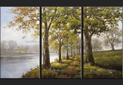 tranh bộ phong cảnh 3 tấm Rừng cây ven hồ