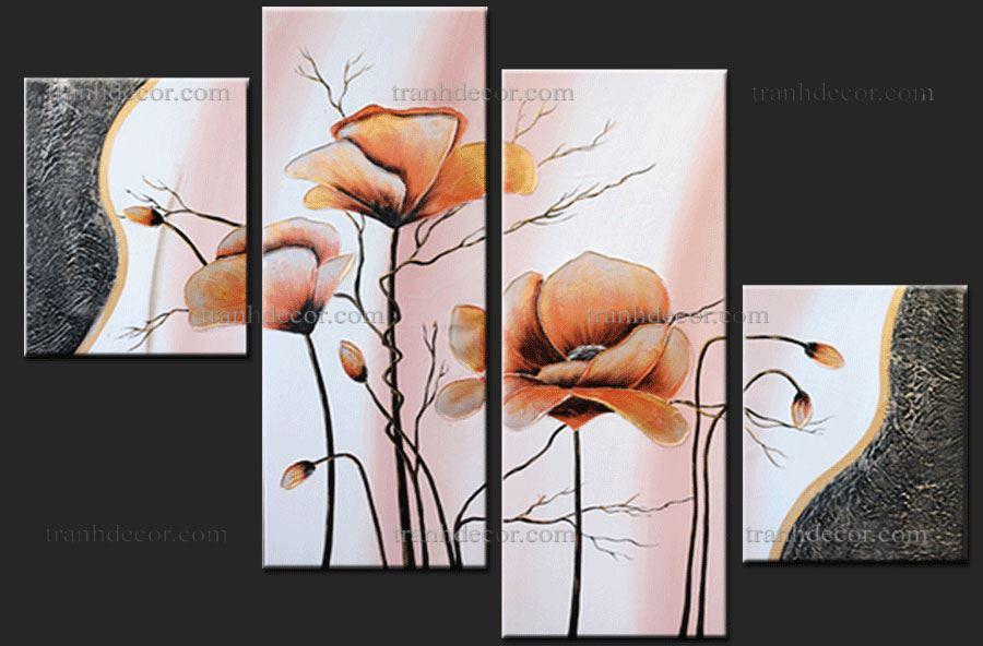 Bộ tranh hoa poppy 4 tấm màu nhã.