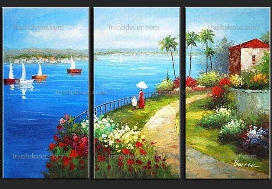 bức tranh ấn tượng ngôi nhà trên bờ biển