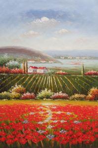 Tranh Làng Hoa phong cảnh Châu Âu mới