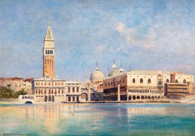 Tranh phố cổ Venice sơn dầu