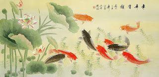 tranh trang trí cá chép