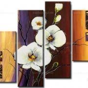 Tranh phong thủy hoa lan 4 tấm