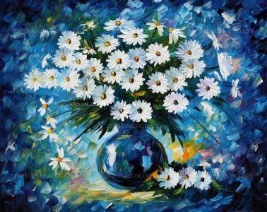 Tranh son dau binh hoa cuc mau xanh