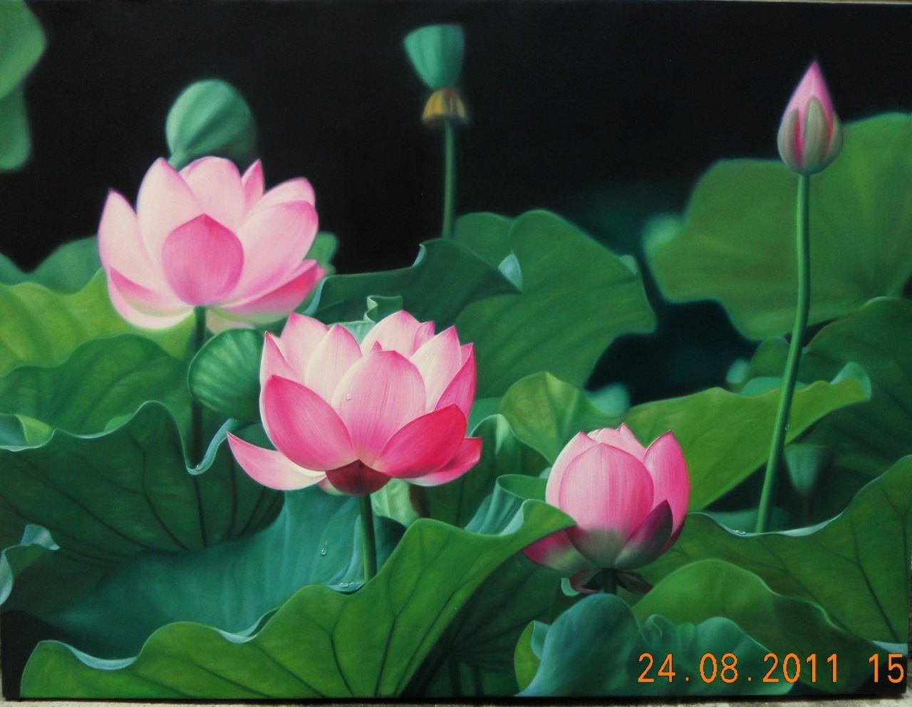 tranh son dau hoa sen 1