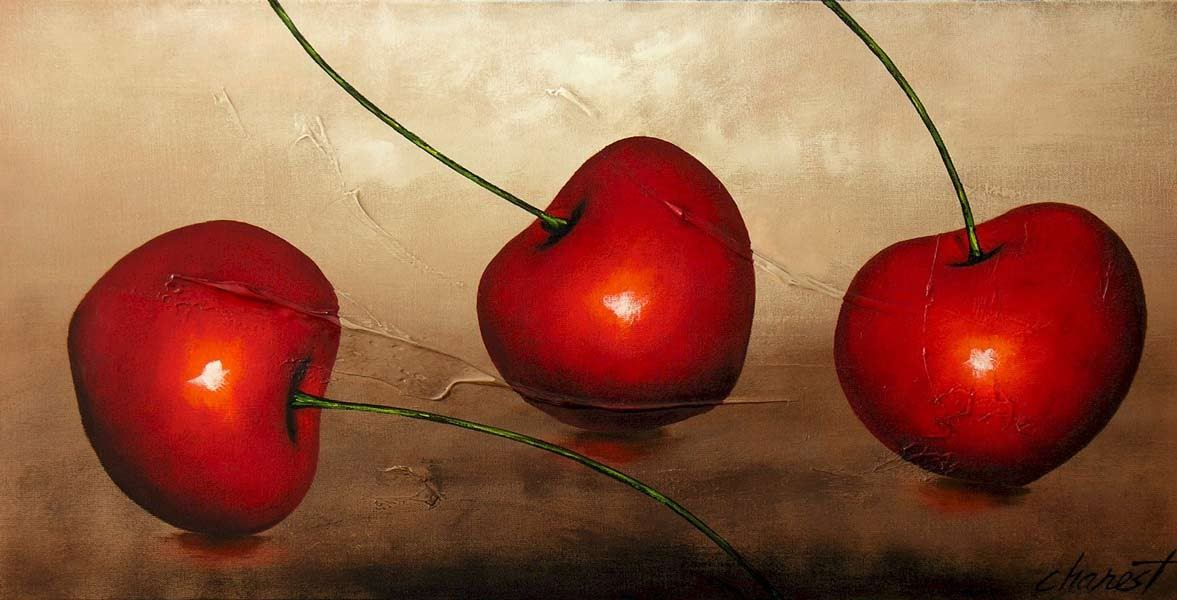 Tranh tinh vat cherry do mong