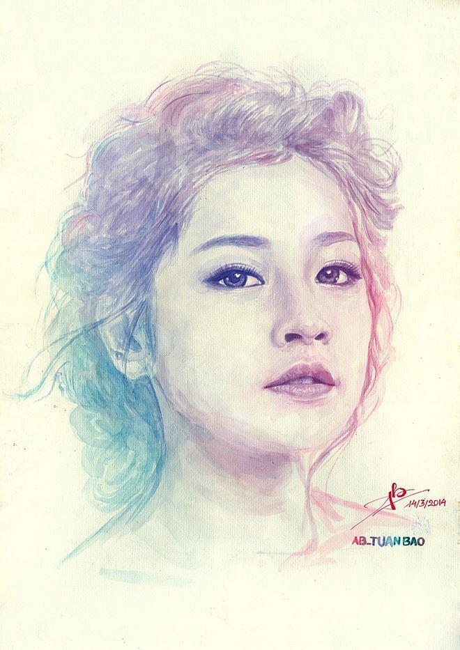 Bức vẽ hotgirl ChiPu rất đẹp