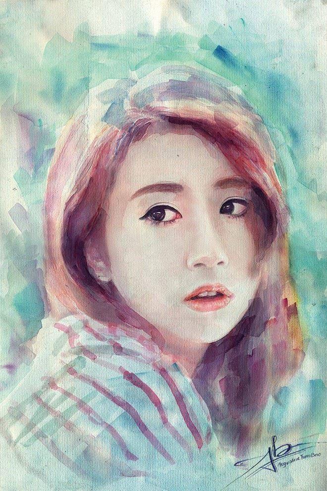 Bức tranh vẽ Quỳnh Anh bằng màu nước