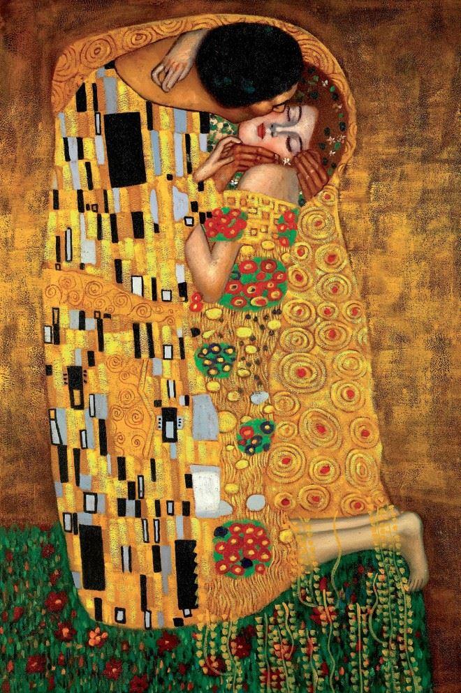 The Kiss Phien ban tranh Klimt