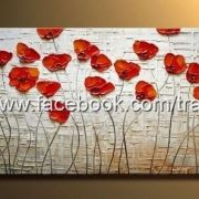 Tranh poppy decor đỏ cam