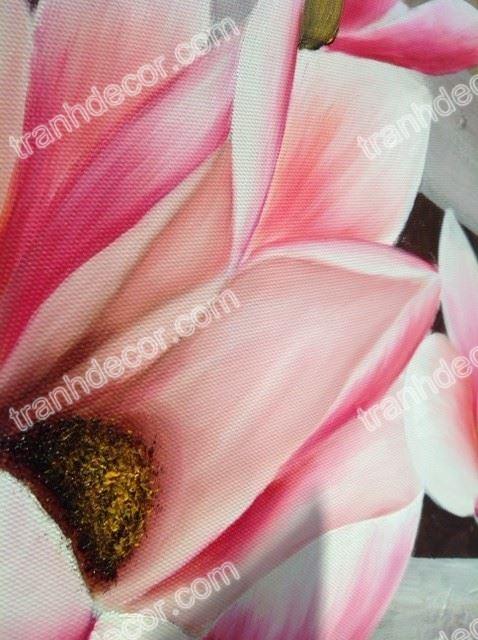Tranh ve hoa Moc lan can canh