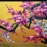 Tranh sơn dầu hoa đào bộ 3 tấm