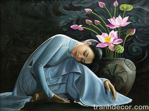 Tranh Sơn Dầu Thiếu Nữ Bên Bình Hoa Sen Hồng