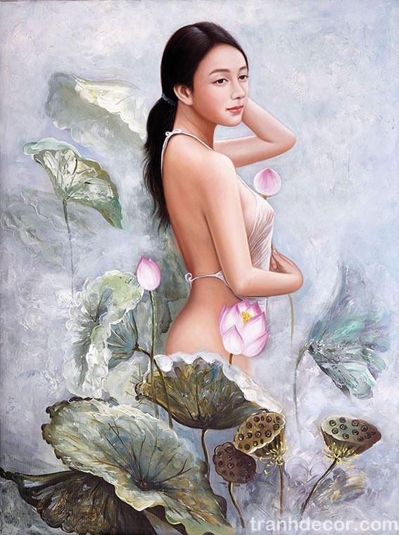 Tranh Sơn Dầu Thiếu Nữ Bên Sen bản hiện đại