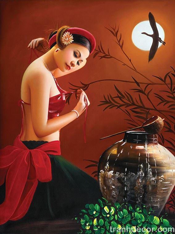Tranh thiếu nữ áo yếm đỏ tắm trăng đêm trăng rằm gợi cảm