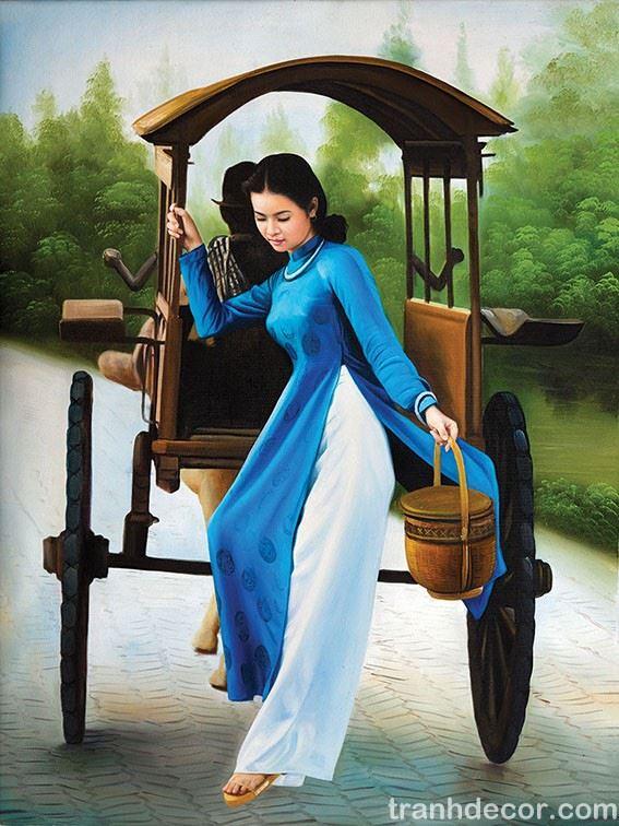 Tranh sơn dầu vẽ thiếu nữ Việt Nam mặc áo dài xanh