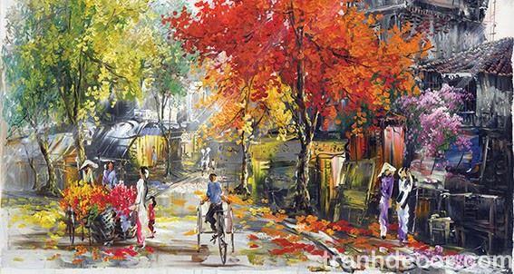 Tranh sơn dầu vẽ góc phố cổ Hà Nội khi giao mùa thay lá