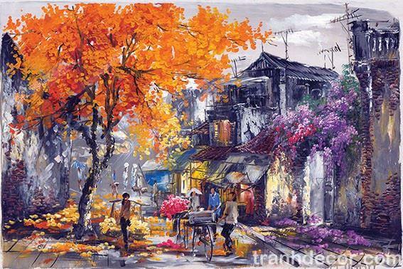 Tranh sơn dầu vẽ phố cổ Hà Nội với cây vàng và hoa tím